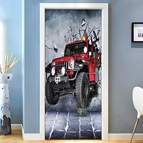 Fadesoue 3D-Tür Tapete Selbstklebendes Papier Diy Wasserdichtes Türfoto - Roter Retro Buggy 95X215Cm - Türdekoration Für Kinderzimmer Jungen Und Mädchen
