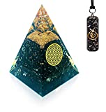 Black Tourmaline Crystals Orgone Pyramid Pendant - Raw Clear Quartz Crystals Point Protection Crystal Orgonite Pendant Necklace - Tourmaline Chakra Pyramid for Protection Empath Magnetic Therapy