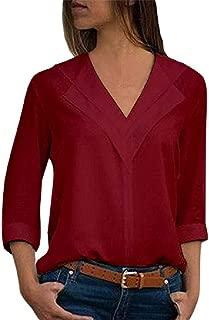 HIRIRI Womens Roll Sleeve Blouse Chiffon Solid V Neck T-Shirt Long Sleeve Office Ladies Plain Tops