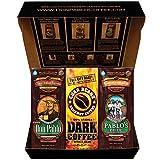 dark colored coffee sampler box