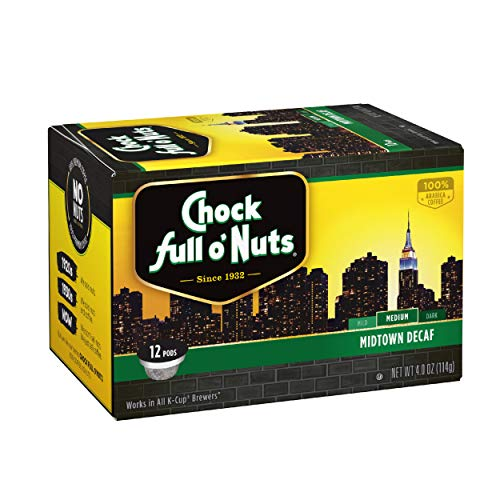 Chock Full o'Nuts Midtown Decaf Medium Roast, K-Cup Compatible Pods (12 Count) - 100% Premium Arabica Coffee in Eco-Friendly Keurig-Compatible Single Serve Cups