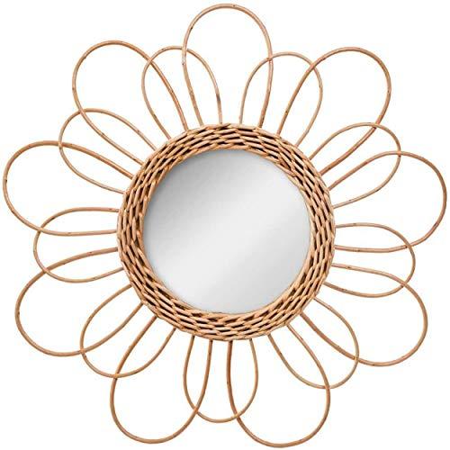 Hogar y Mas Espejo Pared Circular de Ratán Natural, Espejos Originales Decorativos. Decoración Dormitorio/Baño ø38 cm