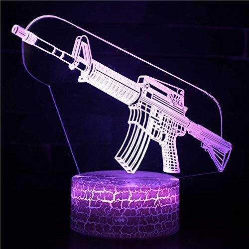 3D led-pistoolmodel nachtlampje, 7 kleuren, touch-schakelaar, nachtlampje met afstandsbediening en USB-kabel, perfect cadeau voor kinderen