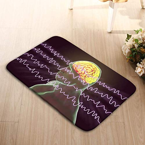 Patterns Camping Holiday Rectangle Non-Slip Rubber Mat Multicolor 23.6 By 15.7 Inch Eeg Electroencephalogram Brain Wave Awake State Rest D