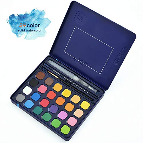 ADAXI Watercolor Paint, 24-Color Watercolor Paint Set Includes Watercolor Paper, Watercolor Brush, Brush Pen n Drawing Pencil, a Portable Watercolor Set All Stored in an Iron Case for Kids n Adult
