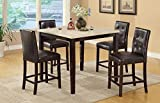 Poundex Casual Styled Counter Height Table with Faux Marble Top, Multicolor