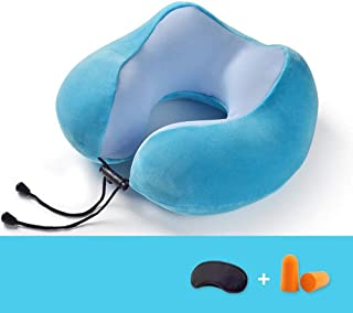 Lightweight Soft Neck Pillow Travel Pillow, Multi-Function Memory Foam U-Shaped Pillow, Aircraft and Car Pillow, with Eye Mask and Earplugs, Blue