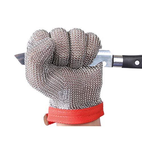 ThreeH Guantes de acero inoxidable de malla Prueba de corte resistente a las puñaladas Guantes de seguridad para cortar el trabajo de corte GL08 M(1 pieza)