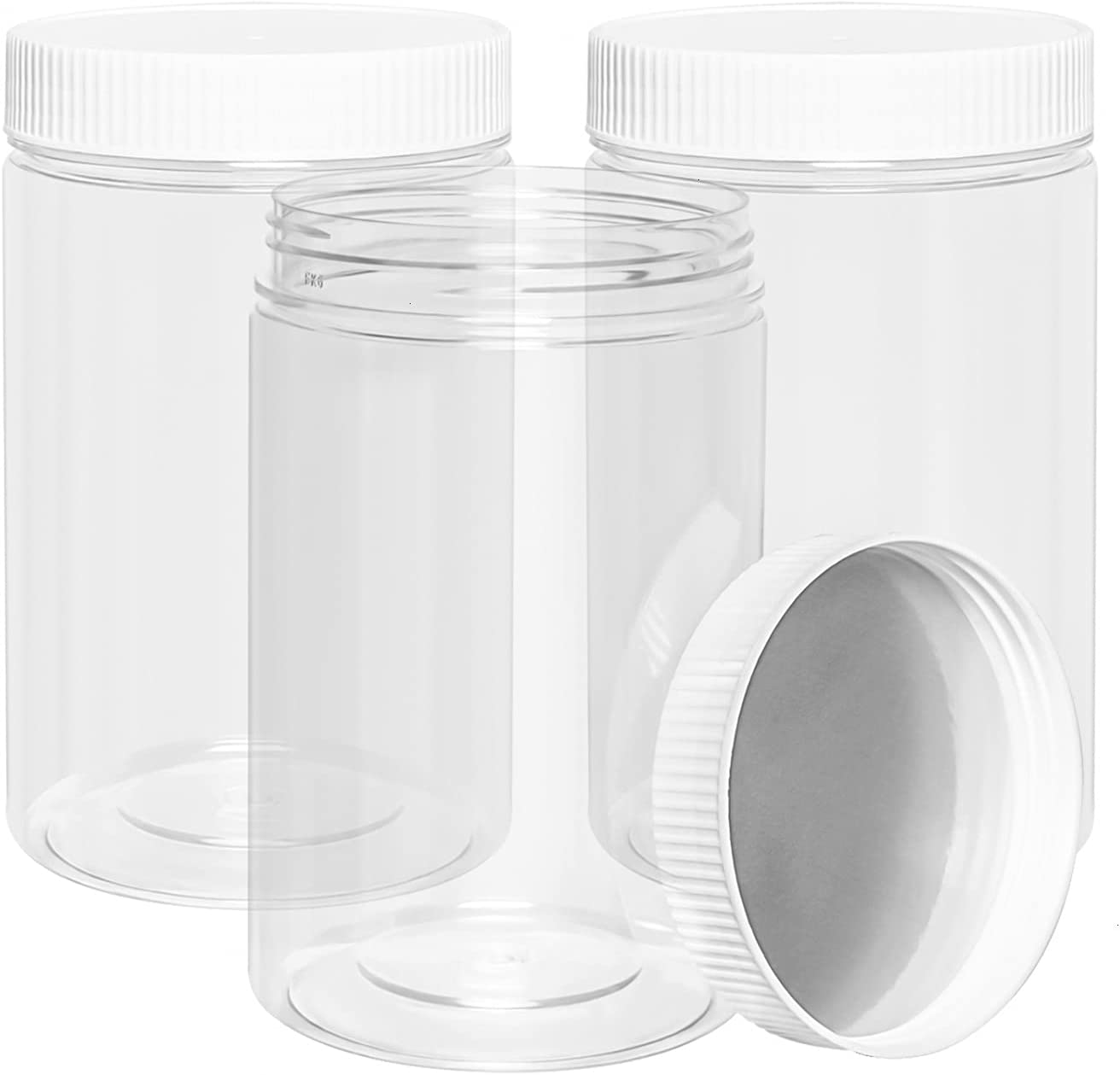Vumdua 27 Ounce Plastic Jars with Lids, 3 Pack Food Storage Containers Airtight, Clear Containers for Organizing (White)