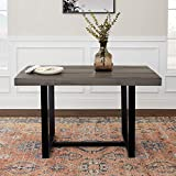 Walker Edison Furniture 6 Person Modern Farmhouse Distressed Wood Rectangle Kitchen Dining Table, 52 Inch, Grey