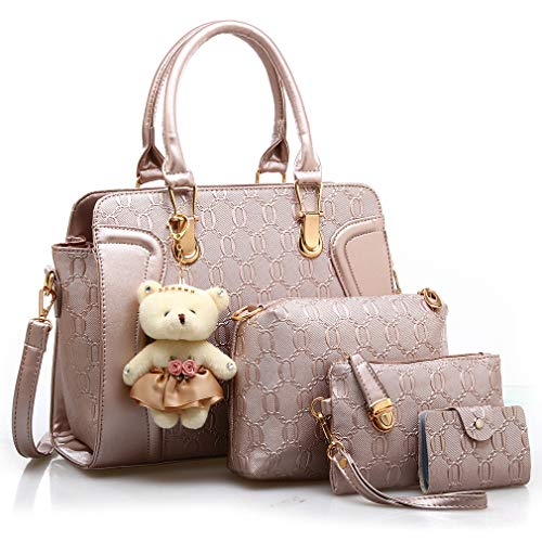 Pahajim Henkeltaschen Geschenkset Damen Premium Packbeutel-Set Für 4 Stück Set Damen Freizeit Tasche Umhängetasche Elegant Tragetasche Mode Handtasche (Roségold)