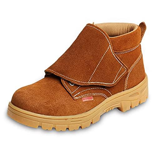 Zapatos de trabajo Soldador para hombres Soldadura Botas de seguridad - Cap de punta de acero y entresuela de acero, cuero de gamuza resistente a alta temperatura, zapatos para caminar transpirables l