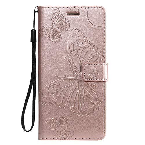 Hülle für [Xiaomi Mi 8 Lite] Hülle Handyhülle [Standfunktion] [Kartenfach] [Magnetverschluss] Schutzhülle lederhülle flip case für Xiaomi Mi8 Lite - DEKT042430 Rosa Gold
