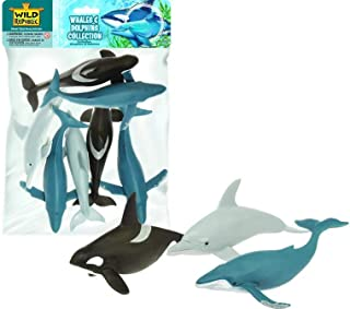Wild Republic Polybag Whales and Dolphins, Humpback Whale, Orca , Dolphins, Kids Gifts, 7 - pieces