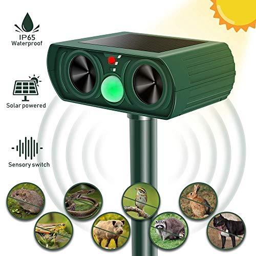Molbory Katzenschreck Ultraschall Solar, wasserdichte Utraschall Tiervertreiber mit Batteriebetrieben und Auto IR-Induktion Einstellbar Ultraschall Abwehr Tierabwehr für Katzen, Rotwild, Hunde