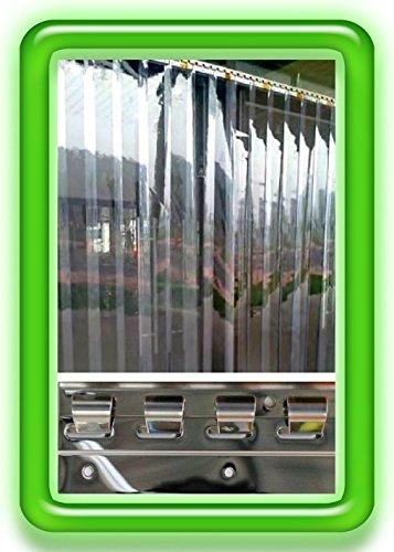 300x2mm PVC Lamellen Streifen Vorhang H2,00 x B1,00 m Überlappung 36% fertig vormontiert mit Wandschiene+Halteklammern