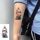 tzxdbh Impermeable Etiqueta engomada del Tatuaje Pikachu de Dibujos Animados Arte pequeño Negro Tatto Tatoo Mano llevó de Nuevo el Brazo para Hombres Mujeres niños en los Tatuajes de Gro Luz Amarilla
