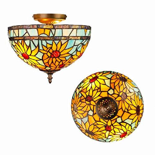 QHENS Tiffany Plafondlamp, E27 x 2 cm, 30 x 29 cm, landhuis, retro plafondlamp, kinderkamer, met handgemaakte glasplaatjes