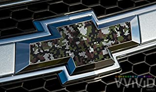 VVIVID Digital Camouflage Pattern Auto Emblem Vinyl Wrap Overlay Cut-Your-Own Decal For Chevy Bowtie Grill, Rear Logo Diy Easy To Install 11.80 Inches x 4 Inches Sheets (x2)