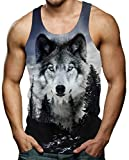 RAISEVERN Grey Wolf Tankshirt Ärmelloses T-Shirt Tank Tops 3D T-Shirts Herren Lässig Lustiges T-Shirt für Summer Gym S.