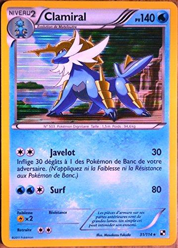 carte Pokémon 31/114 Clamiral 140 PV - HOLO Série Noir Blanc NEUF FR
