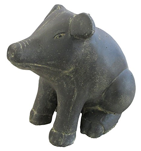 STONE art & more sitzendes Schwein, 20 cm, Steinfigur, Steinguss, frostfest