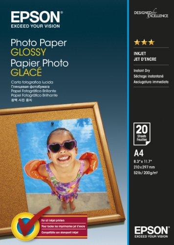 Epson Carta Fotografica Glossy, A4, 20 Fogli, Bianco