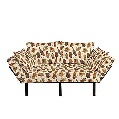 Lunarable Fast Food Futon Couch, Burger Meat Hot Dog Corn Junk Food Concept Sandwich Restaurant Meal, Daybed with Metal Frame Upholstered Sofa for Living Dorm, Loveseat, Chocolate Ginger and Red