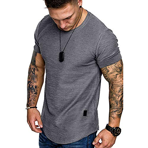 Fashion Mens T Shirt Muscle Gym Workout Athletic Shirt Cotton Tee Shirt Top Grey