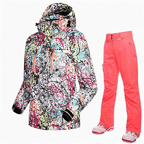MQAIFEKS Ski Jacke + Ski Schneehose Skianzug Winter Damen Snowboard Hose Thermo Atmungsaktiv Günstige Outdoor Mountain Ski Set