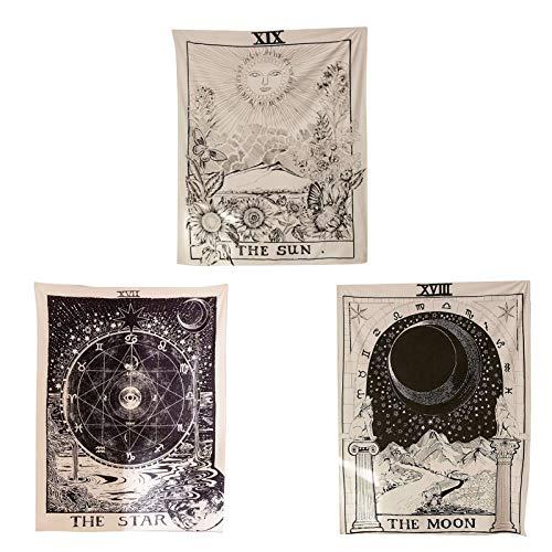 Canghai Tapiz de tarot para colgar en la pared, diseño de estrella del sol y la luna, tapiz de la adivinación medieval, tapiz de astrología para decoración del dormitorio (1,5 x 2 m)