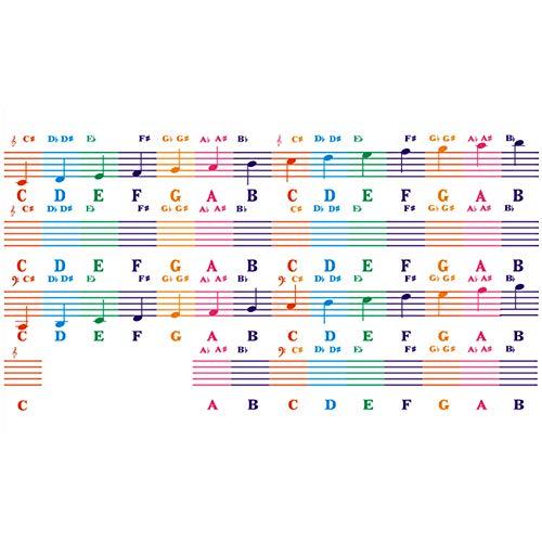 BOINN Letras Enrolladas a Mano 88 Teclas Pegatina de Piano ElectróNico Personal de Color 61 Pegatina de Piano EléCtrico para Principiantes y NiiOs