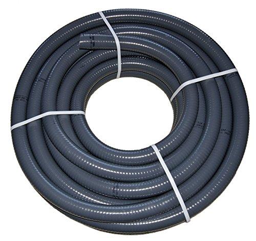 nichtganzdicht24de PVC Flexschlauch, Klebeschlauch, Teichschlauch, Poolflex, Aussendurchmesser 50mm, 25m Rollen für Schwimmbad, Pool, Teich