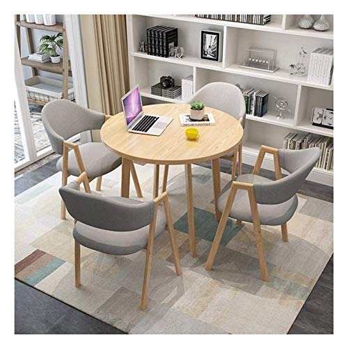 DYYD Modern Table and Chair Set Wooden Dining Table Simple Design Leisure Table Balcony Living Room Kitchen Bedroom European Style Cotton and Linen Seat Office Hotel Reception Room