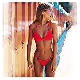 Bikinis Set para Mujeres Traje de baño Verano Playa de Verano Biquinis brasileña Trajes de baño para Mujeres Sexy Bikini Swimwear (Color : Red, Size : S.)