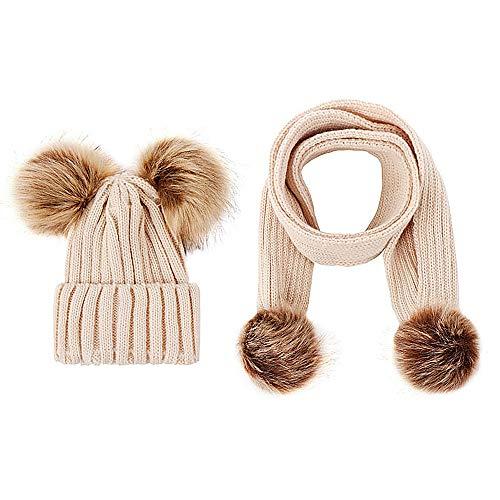 Luoistu Kids Winter Hat Gorro con Conjunto de Bufanda, Slouchy Warm Snow Knit Skull Cap Gorra de bebé Bufanda para niños niñas 3-48 Meses (Beige)