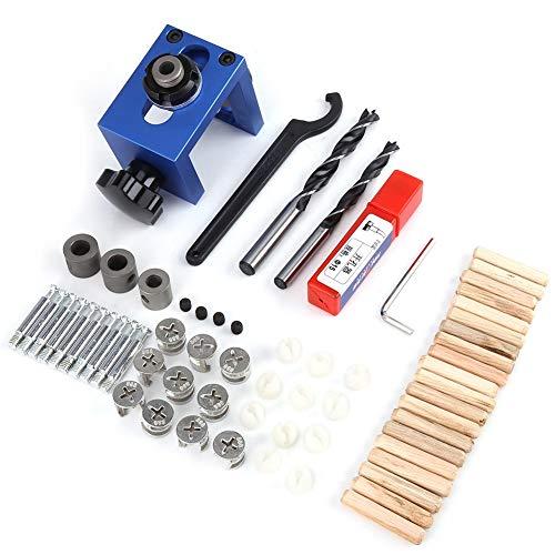 Dübellochführung, Holzbohrführung Vorrichtungsbohrersatz Bohrführung Taschenloch Holzbearbeitung Tischlerpositionierer Suchwerkzeug