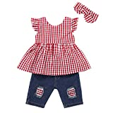 Baby Girls Clothes Red Ruffle Short Sleeve+Baby Girl Outfits Ripped Jeans Headband Set 6-12 Months