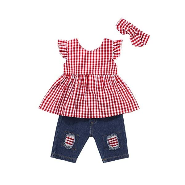 Baby Girls Clothes Blue Ruffle Short Sleeve+Baby Girl Outfits Ripped Jeans Headband...