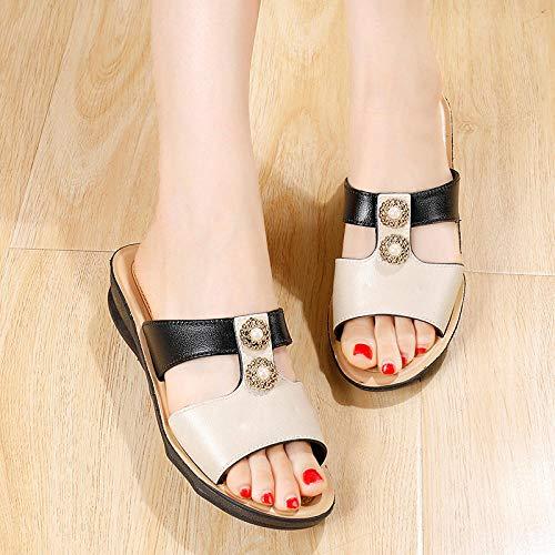 TDYSDYN Zapatillas de Ducha Transpirables,Sandalias de tacón de Pendiente de Verano, Zapatillas de Diamantes de imitación para Exteriores de Mujer-Negro_37,Zapatillas Interior Piso