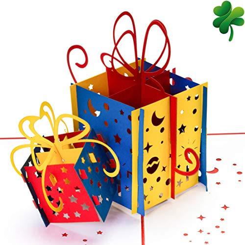 Geburtstagskarte PREMIUM XL VERSION - 2 bunte Geschenke NEU 15x15 CM 3D Pop-up-Karte, Glückwunschkarte Geburtstag, Grußkarte, Geschenkkarte als Gutschein oder für Geldgeschenk, Happy Birthday Card