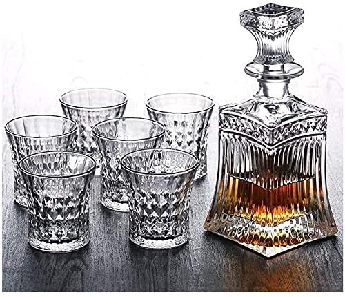 Botella De Whisky De Cristal Y Juego De Vasos De Whisky Juego De Botellas De Vino, 6 Vasos En Una Caja De Regalo con Estilo Único, 100% Libre De Plomo, Apto para Lavavajillas