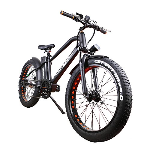 NAKTO 26' 500W Electric Bicycle Fat Tire Snow Mountain EBike Shimano 6 Speeds Gear with Removable 48V Lithium Battery,Smart Multi Function LED Display (with 48V10A Lithium Battery)