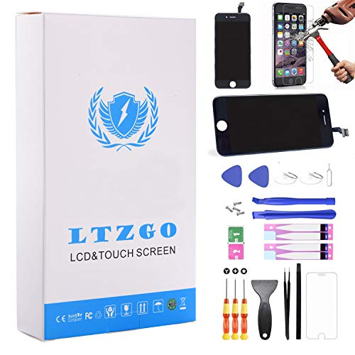 LTZGO LCD Display für iPhone 6S Schwarz Ersatz Bildschirm Reparatur Reparaturset Touchscreen Werkzeug Handbuch gehärtetem Glas Film