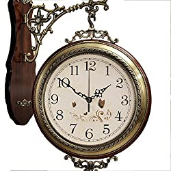 ZfgG American Style Solid Wood Metal Double Wall Clock Mute European Style Both Sides Hanging Table Creative Wall Clock Quartz Watches (Color : White)
