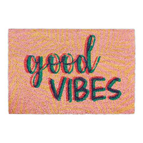 Relaxdays Felpudo de Coco Good Vibes Antideslizante, 40 x 60 cm, para Interior y Exterior, Moderno, Multicolor