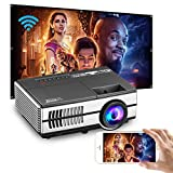 Portable Wireless Bluetooth WiFi Projector with Android 7.1 OS HDMI USB AV for Home Theater Indoor Outdoor Movie Gaming TV Box DVD Player Laptop PS4 Airplay iOS Smart Phone Support 4D Keystone Zoom
