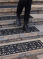 PREVENT STAIRWAY FALLS with our 9.9 inch x 41.9 inch nonslip rubber treads made for outside and indoor stairs COVER LARGER AREA: Reduce slippery areas and increase safety by covering a larger stair surface with 41.9 inch wide no-slip rubber stair tre...