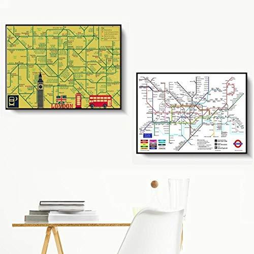 kldfig New York Londen metro kaart vintage muurkunst canvas schilderij poster voor wooncultuur posters en prints decoratieve schilderij - 50x75cmx2 niet ingelijst