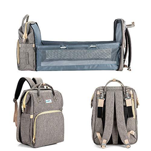 MiggyAndHat Crib Diaper Backpack, 3-in-1 Travel Bassinet Foldable Baby Bed, Changing Station for Men Women, Portable Bassinets for Baby Girls Boys, Travel Crib Infant Sleep
